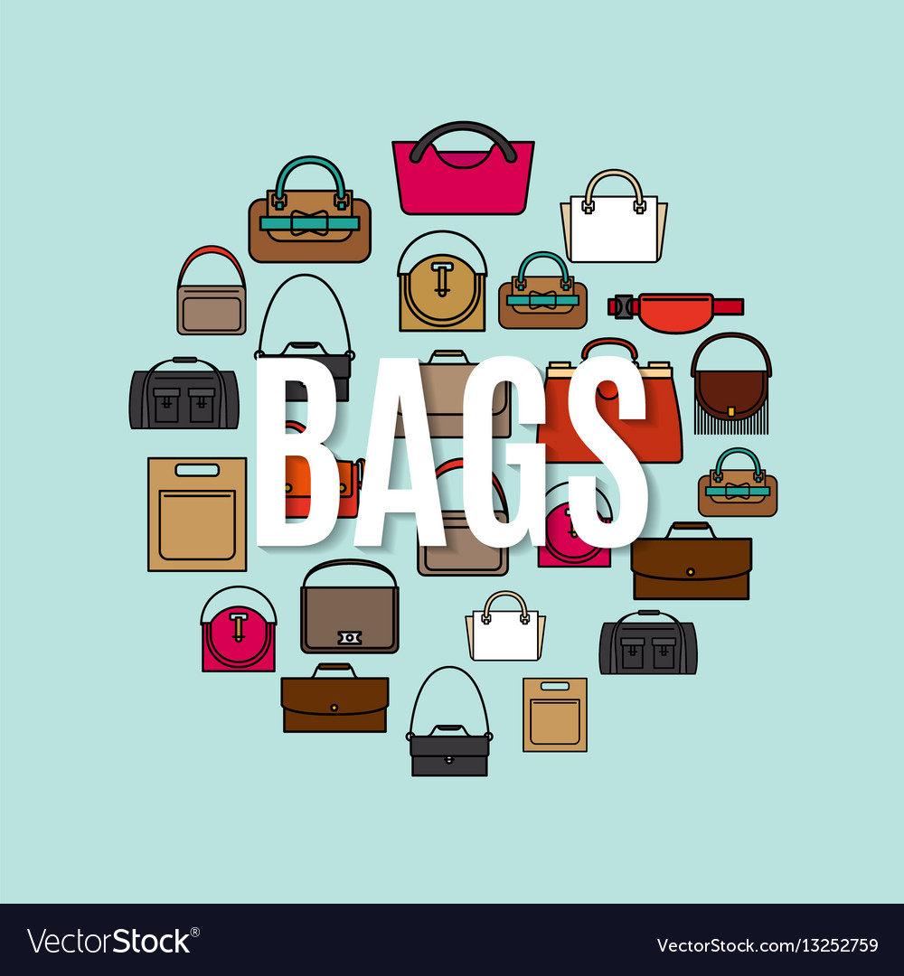 Bags cartoon icons in circle shape vector image