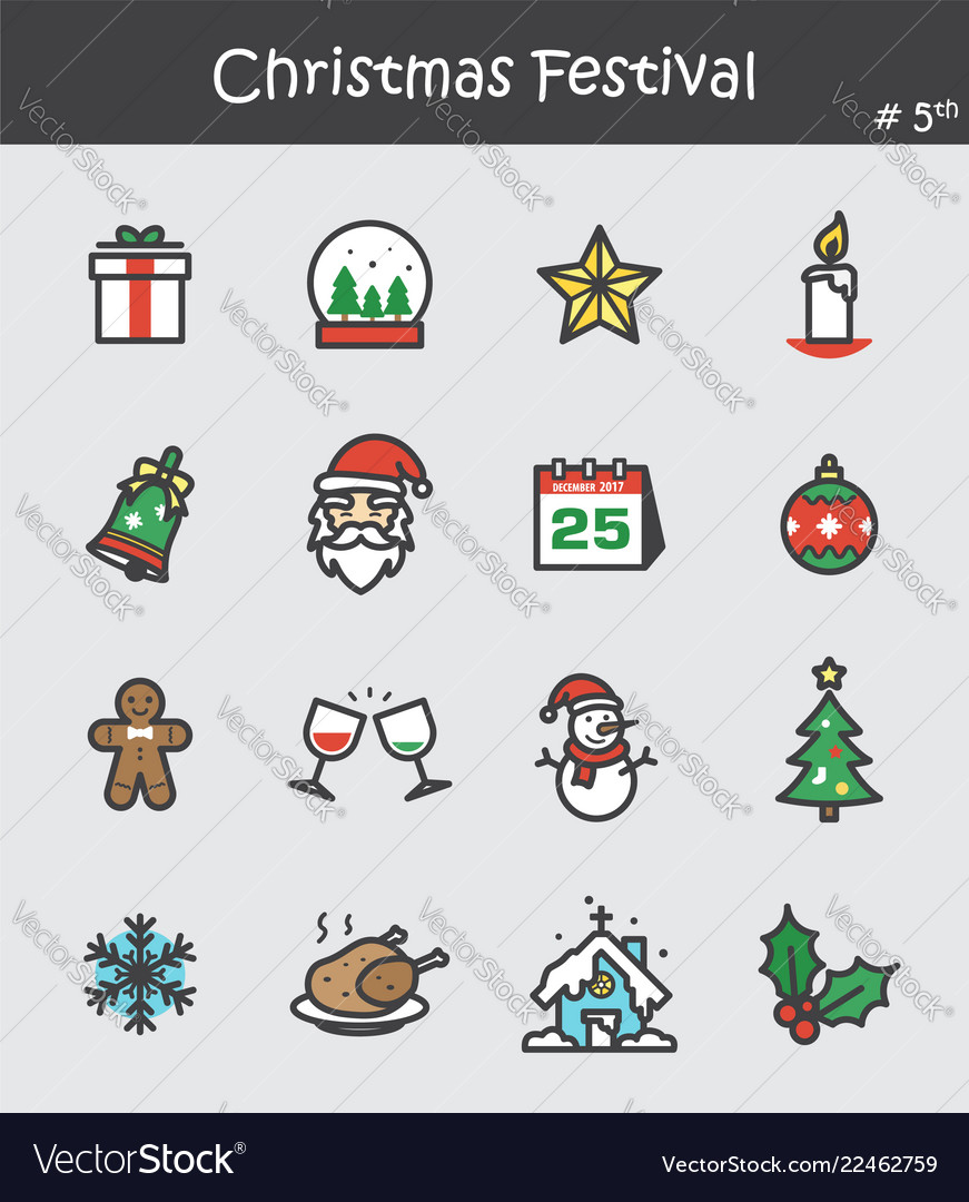 Christmas festival icon set 5 flat colour design