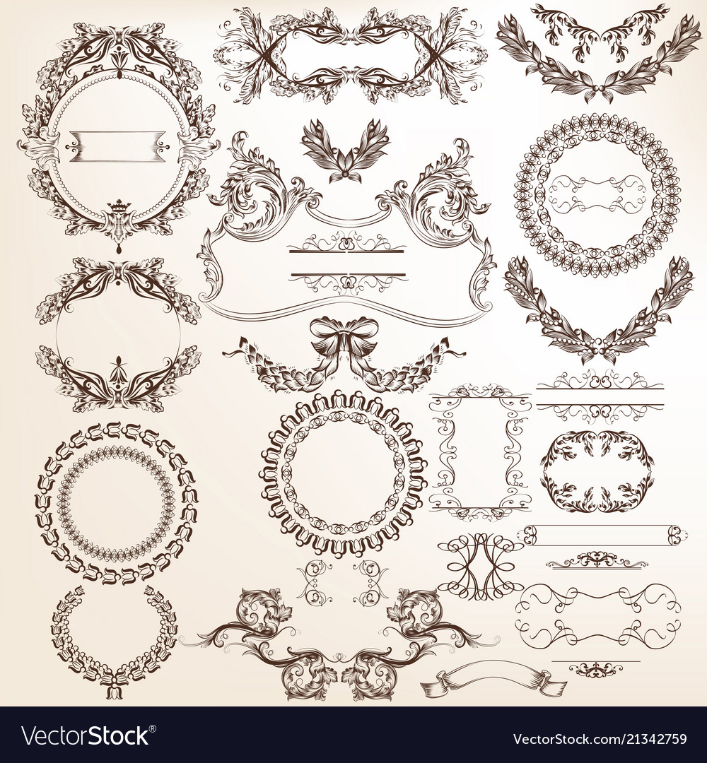 Collection or set of filigree drawn antique style