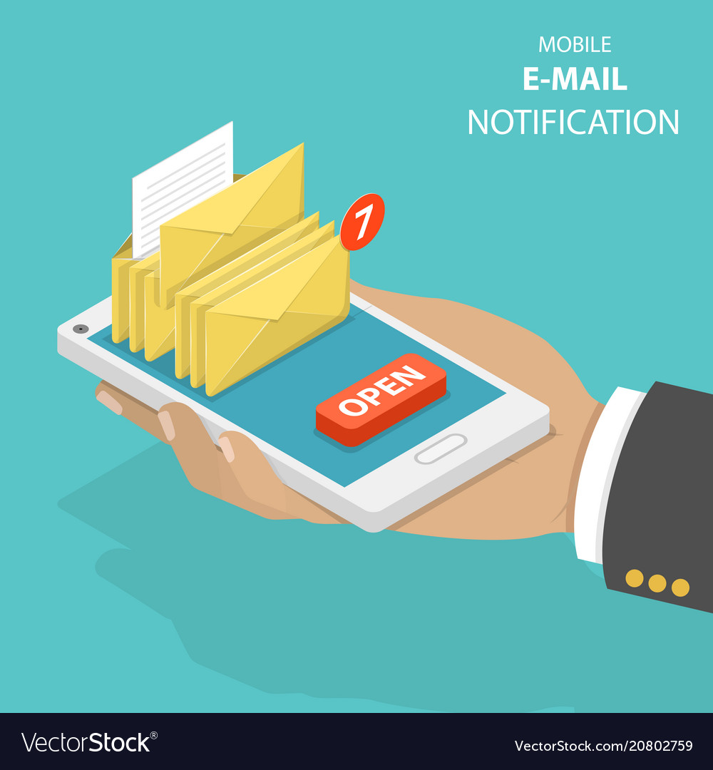 Email notification flat isometric concept