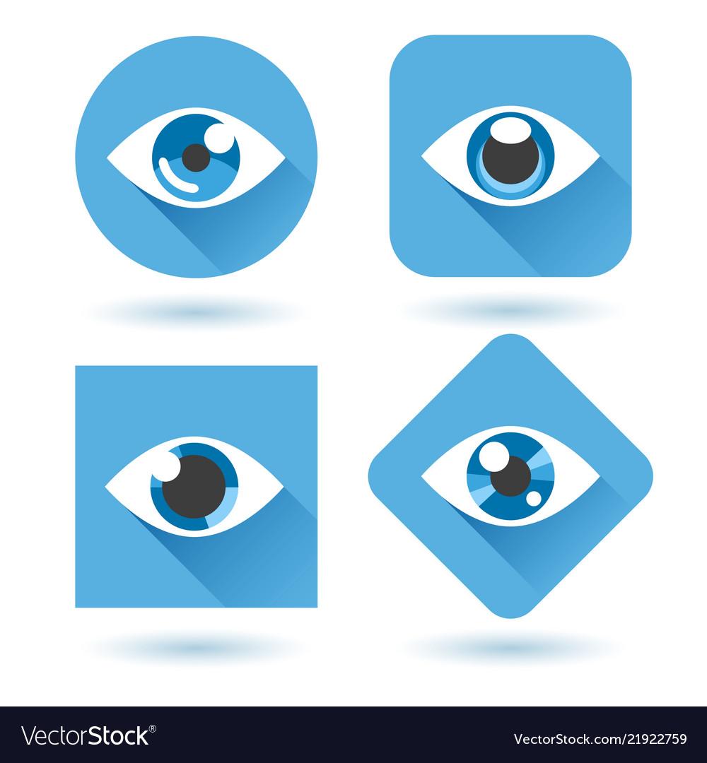 Eye blue flat icons set