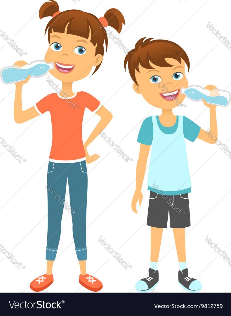 Happy children drinking water vector image
