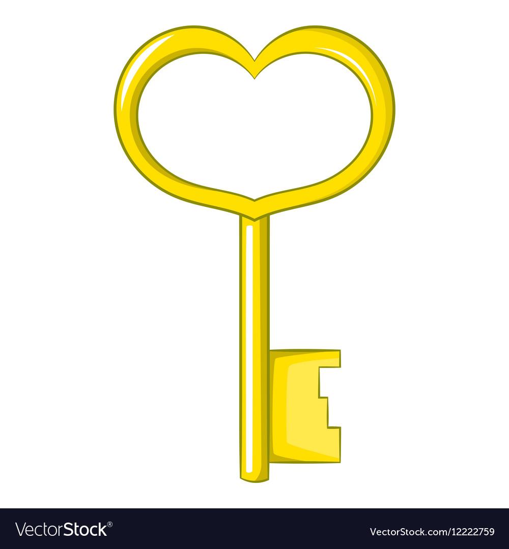 Key in heart shape icon cartoon style vector image