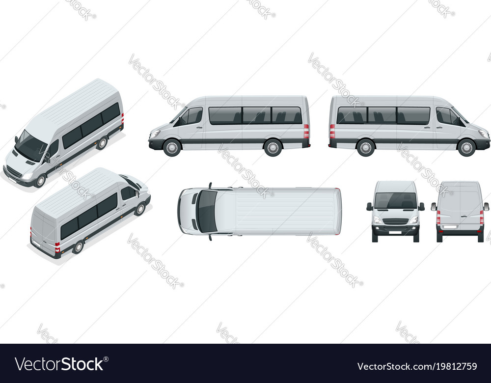 Realistic set of van template isolated passenger