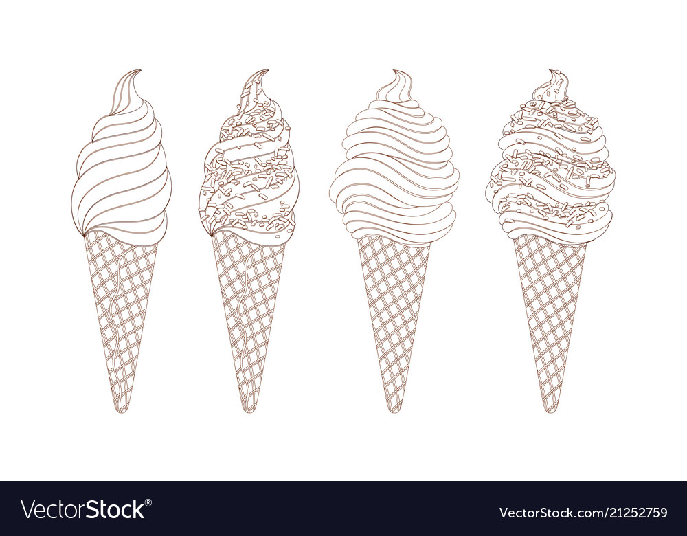 Set of line drawing ice creams hand drawn