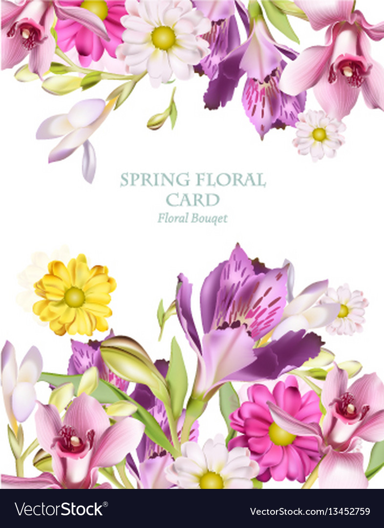Spring flowers bouquet vertical card background vector image