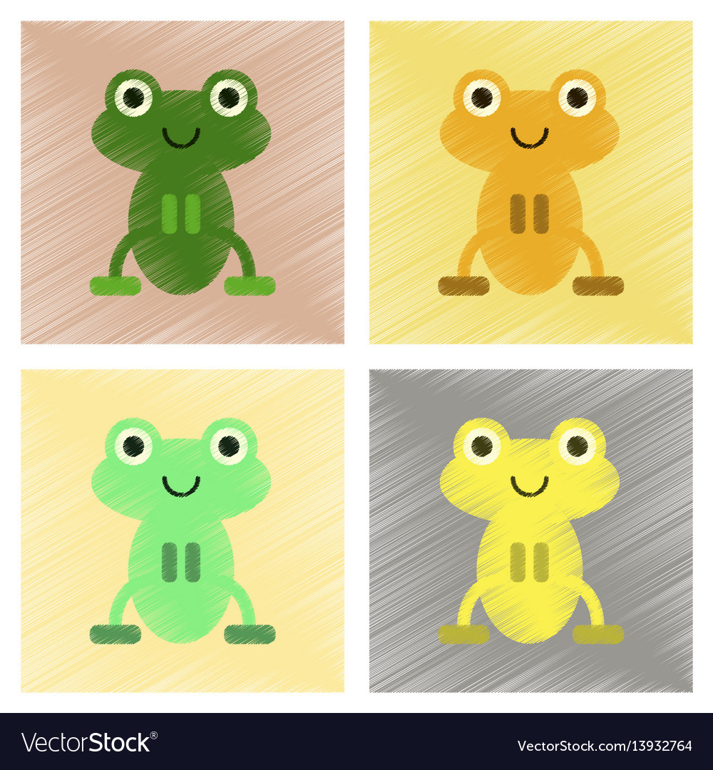 Assembly flat shading style icons cute frog