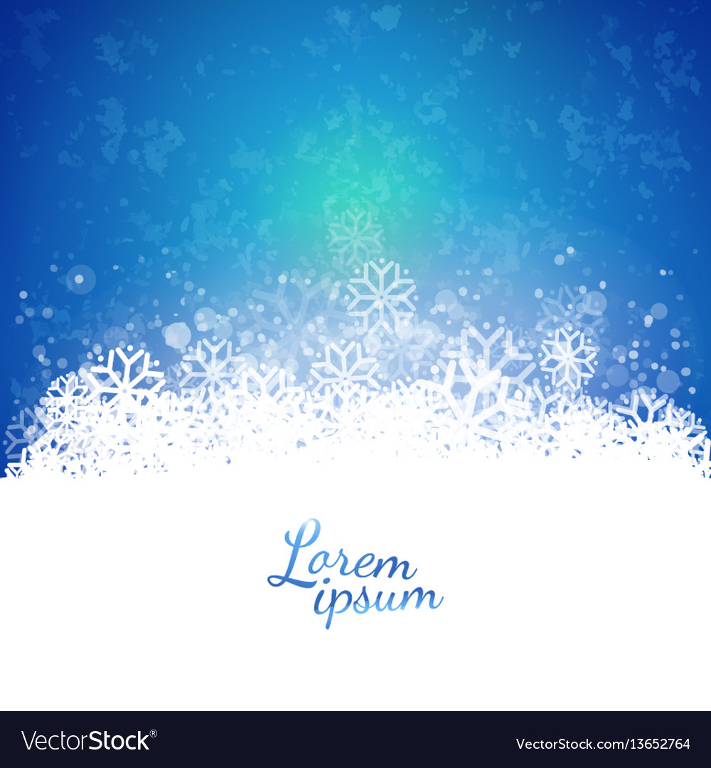 Blue sky background over snowflakes cloud