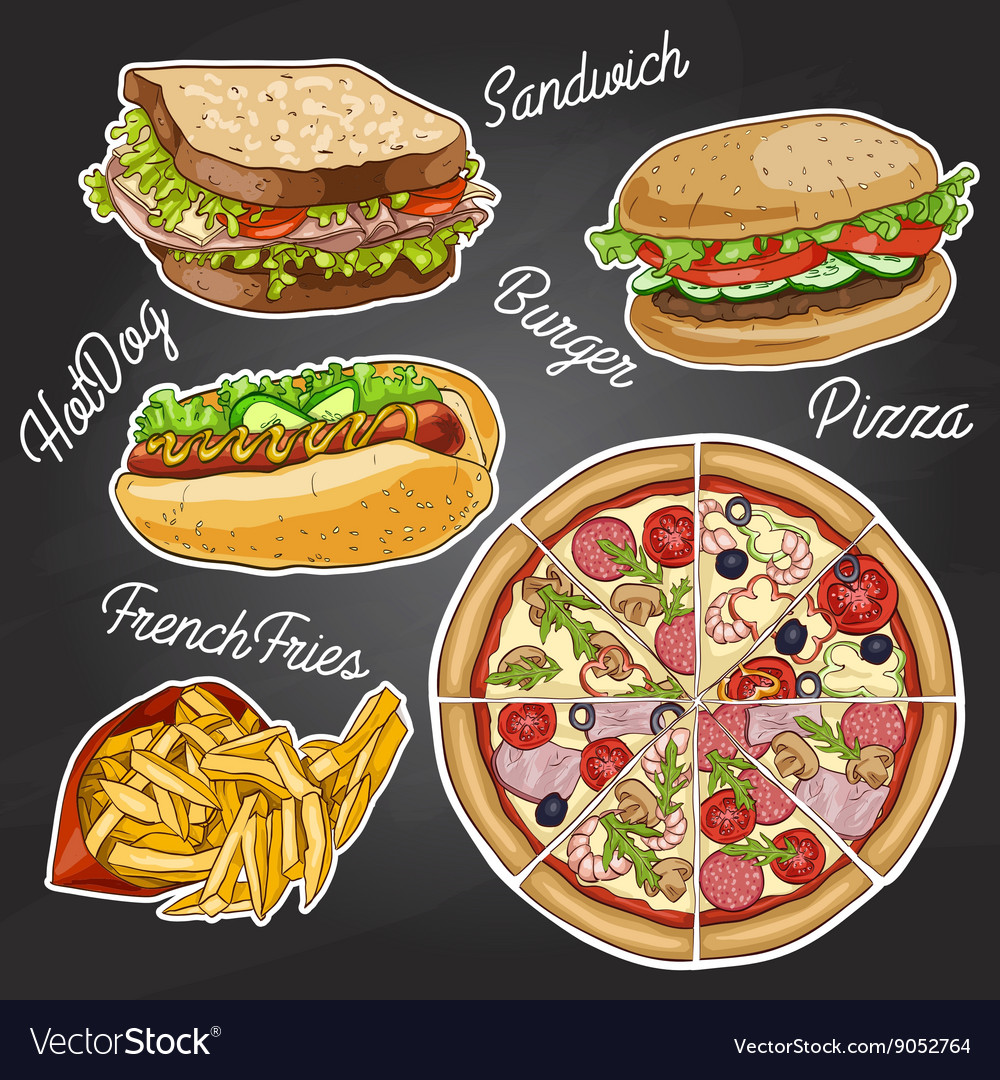 Color fast food on a black board