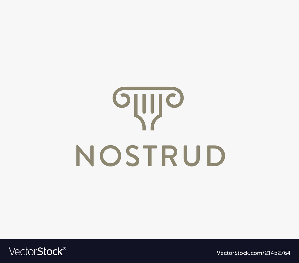 Column fork idea logotype classic restaurant vector