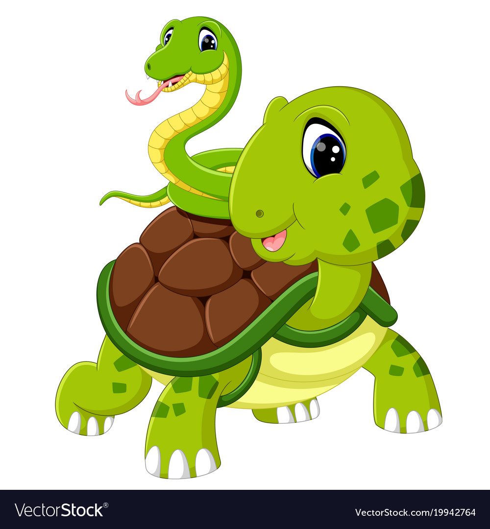 Cute snake and turtle