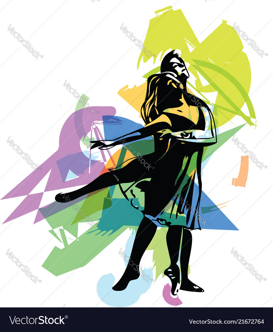Dancing couple abstract lines drawing