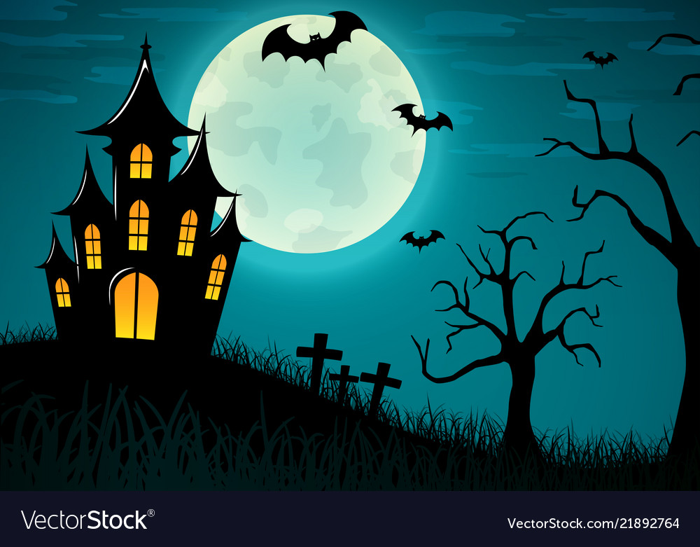 Halloween Castle Background Design Royalty Free Vector Image