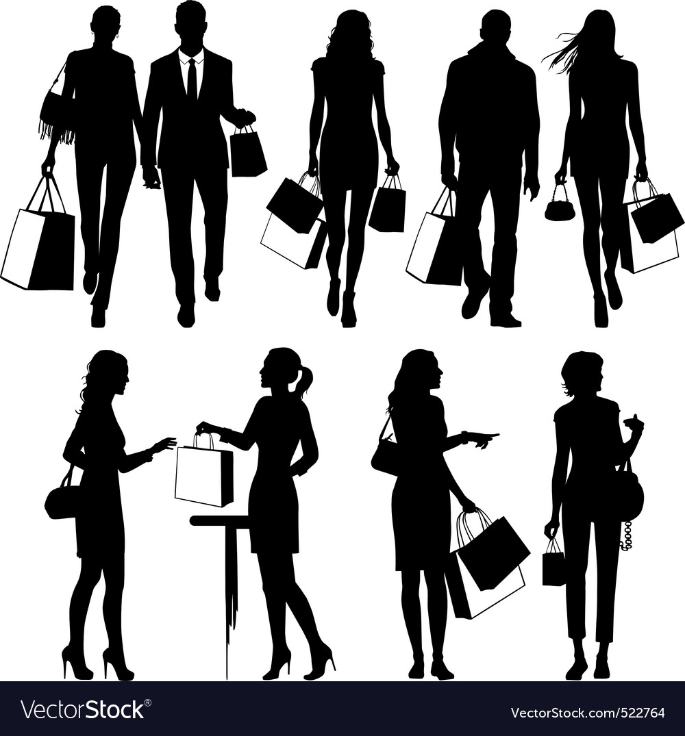 Shopping people silhouettes
