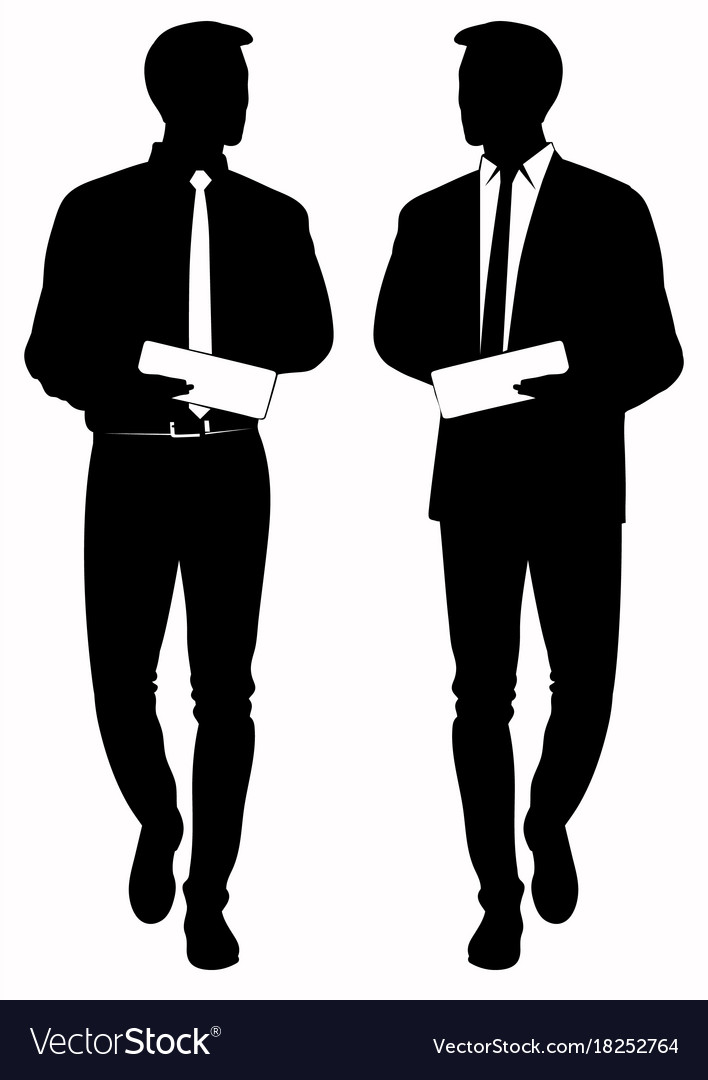 silhouette of business man in tie royalty free vector image