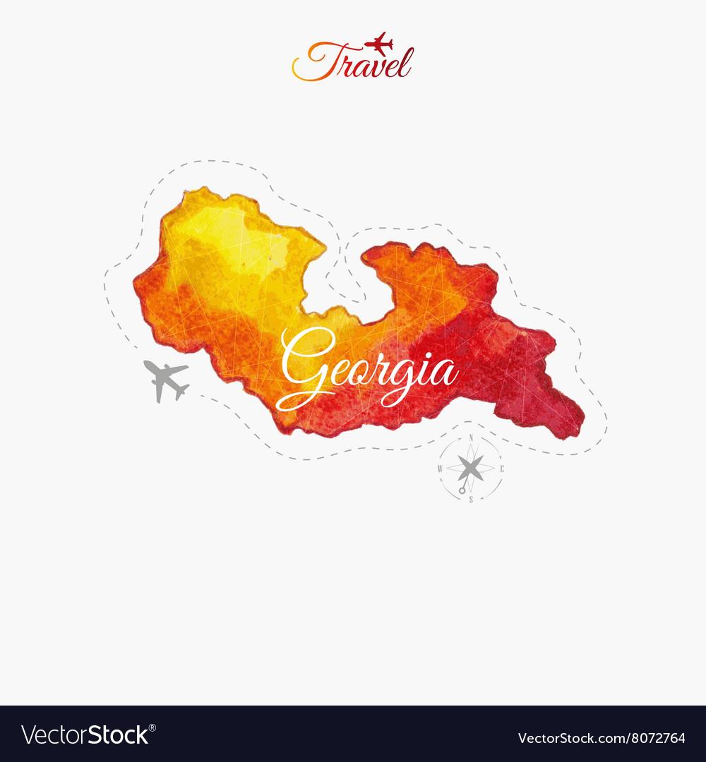 Travel around the world Georgia Watercolor map