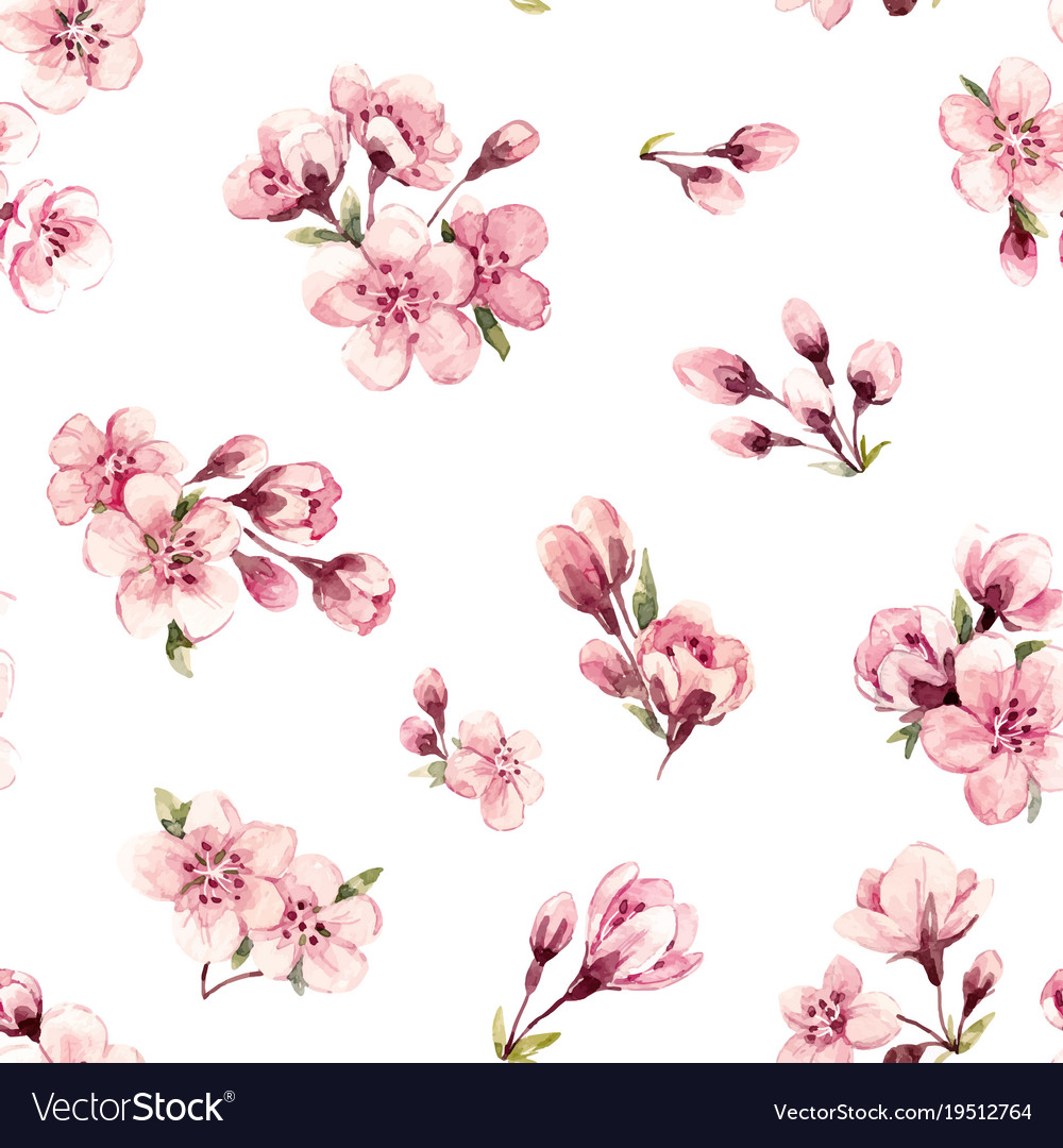Watercolor Spring Floral Pattern Royalty Free Vector Image