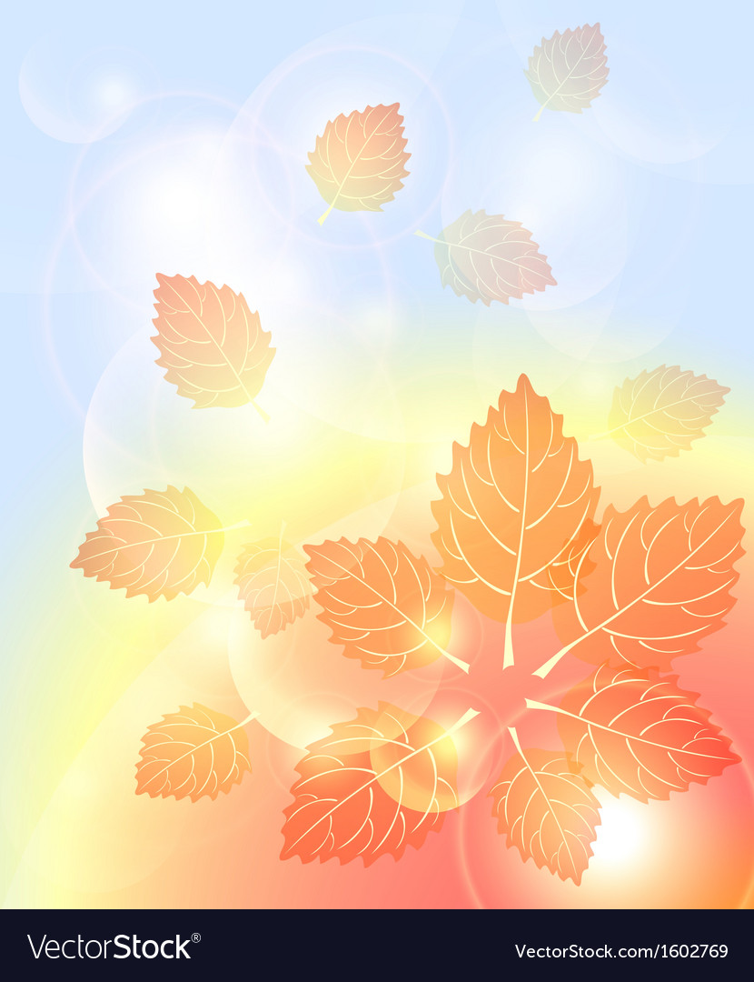 Abstract autumn background with leaves bubbles