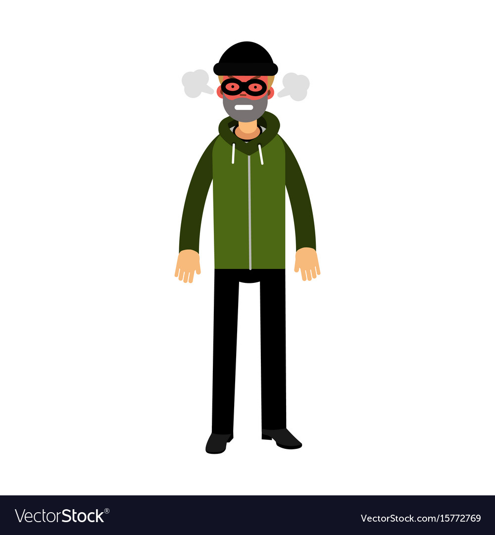 Angry robber character with red face under mask vector image
