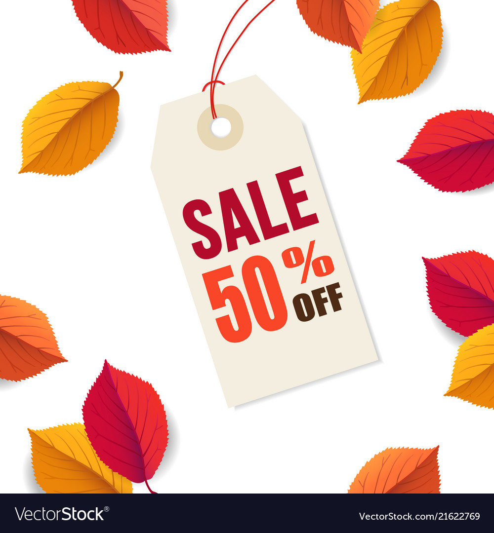 Autumn sale 50 off tag template falling bright