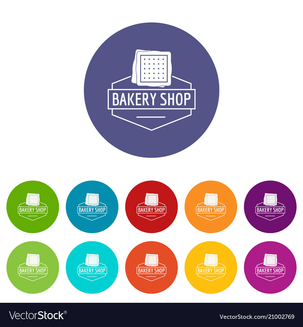 Bakery product icons set color