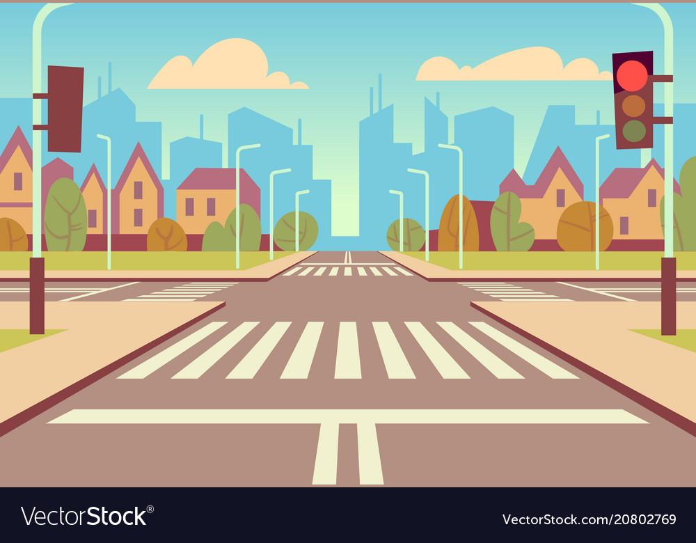 Cartoon city crossroads with traffic lights vector image