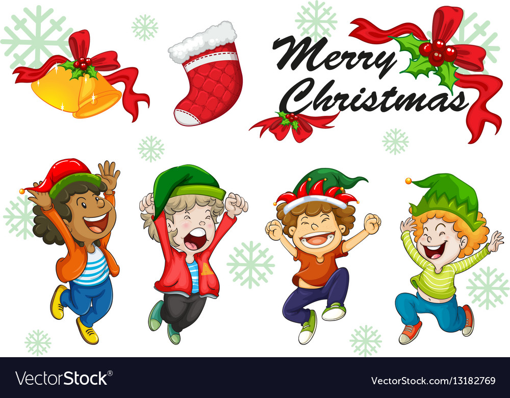 Christmas card template kids dancing Royalty Free Vector