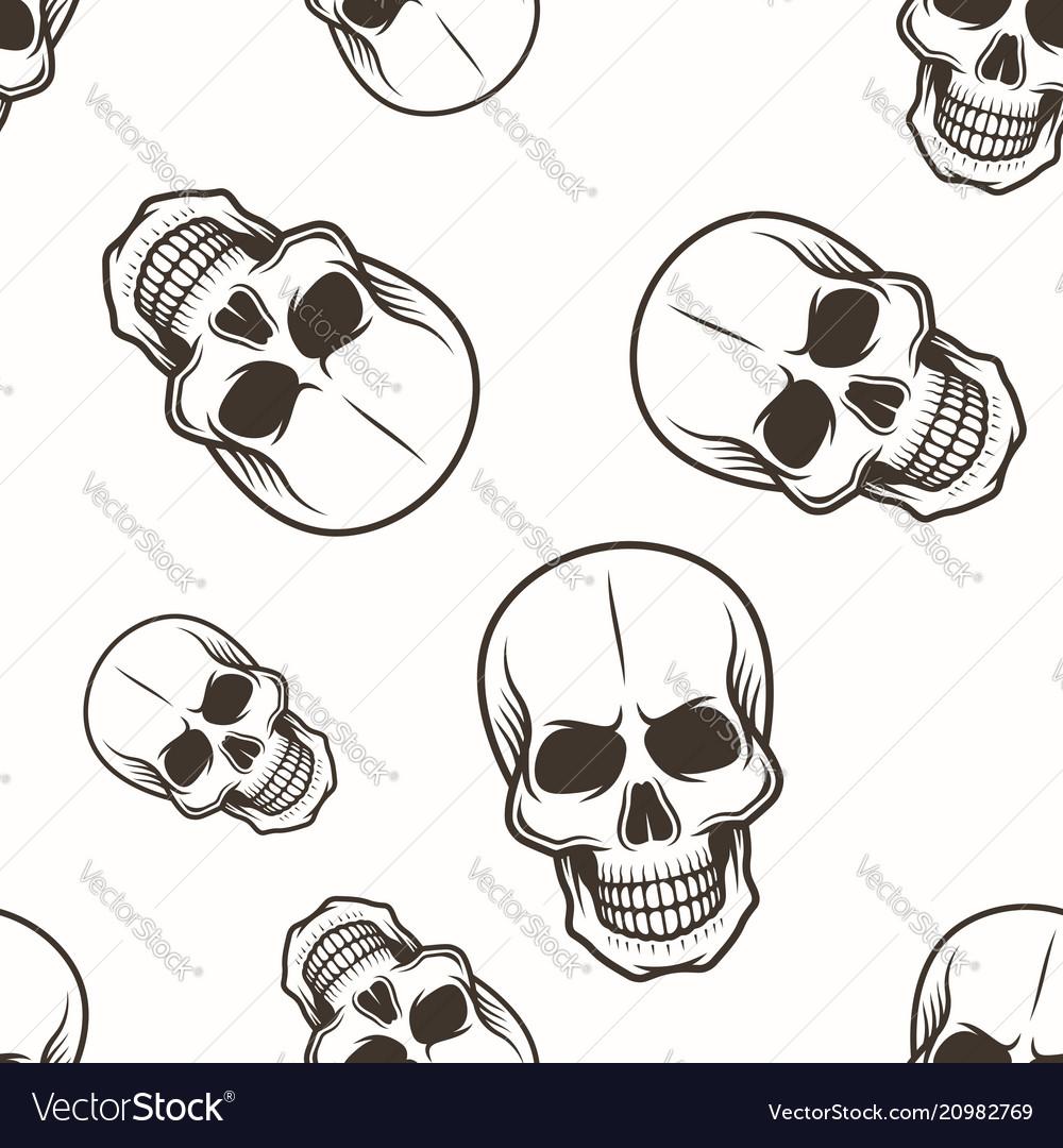 Human skull seamless pattern black on white