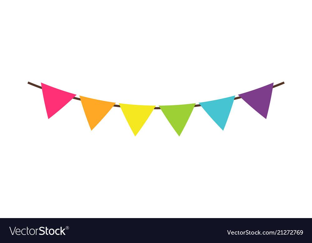 Multicolor triangular bright paper garlands flags