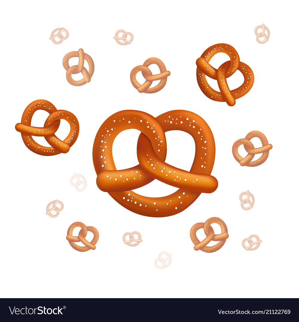 Realistic tasty pretzels on the white