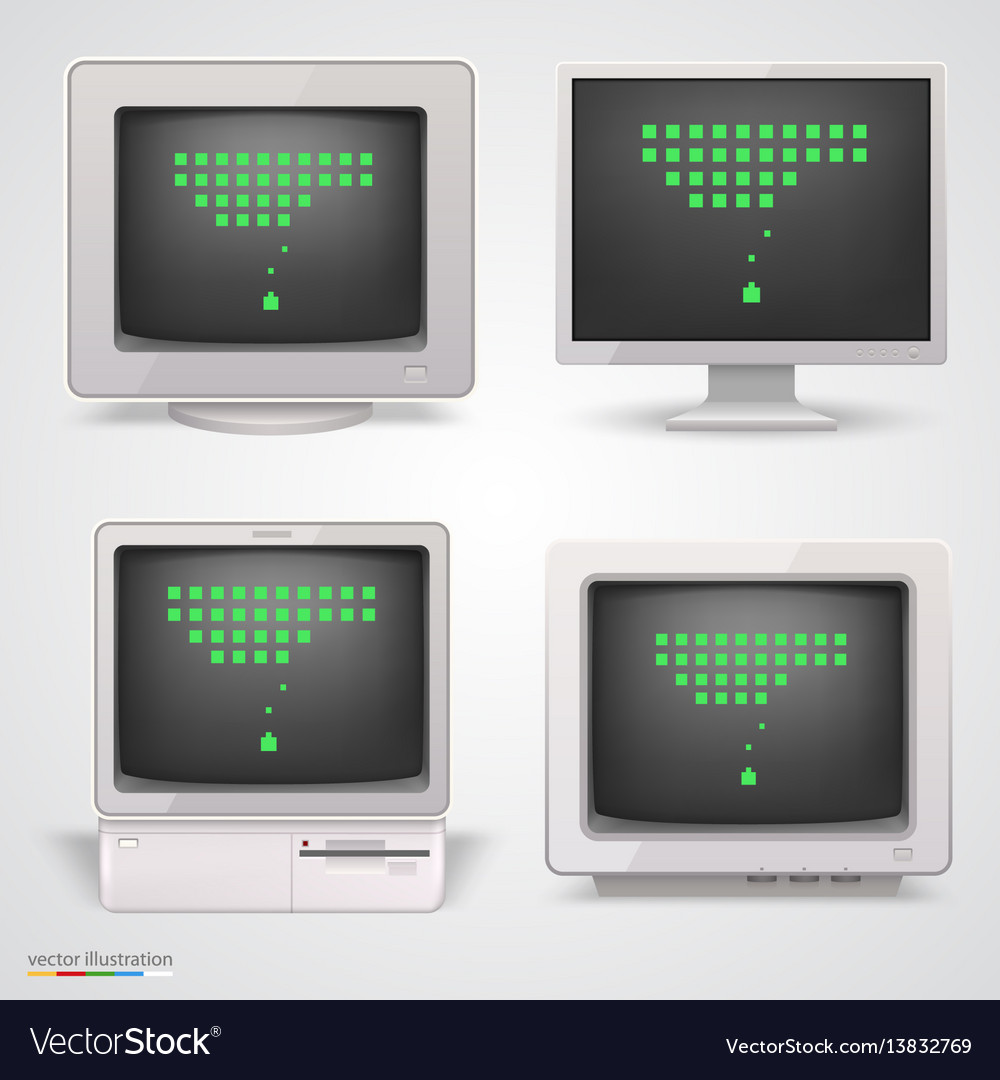 Set of retro computers