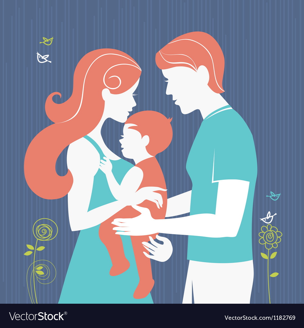 Silhouette of parents with baby girl vector image