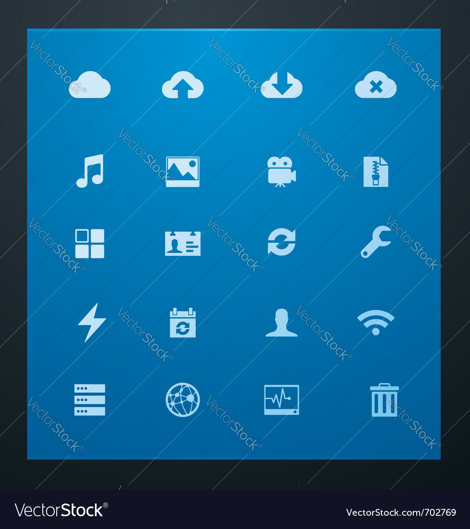 Universal glyphs 10 cloud services vector image