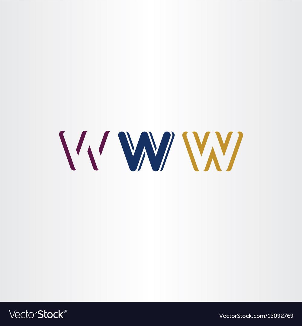 W letter set logo icon design elements