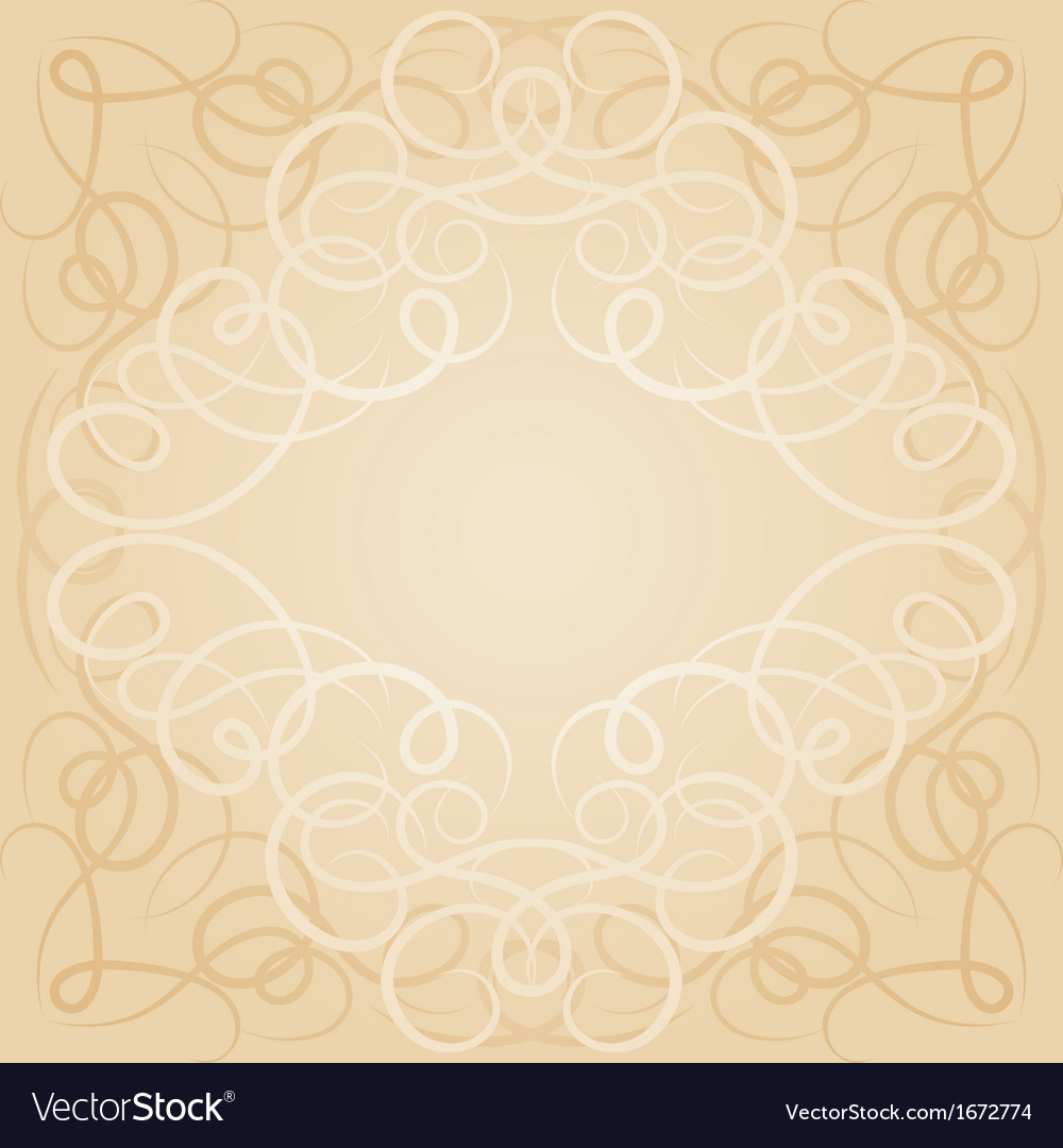 Background with ornamental curly frame in retro
