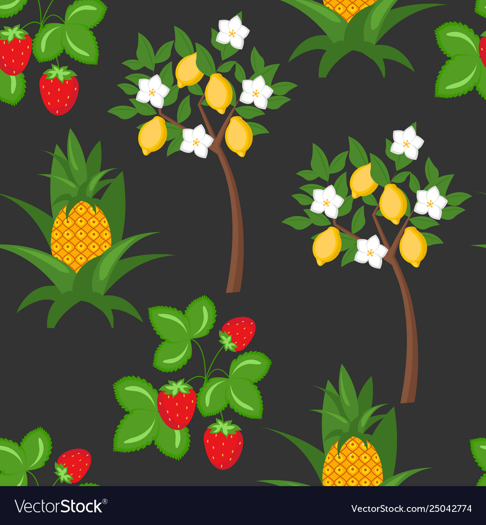 Berry lemon pineapple seamless pattern