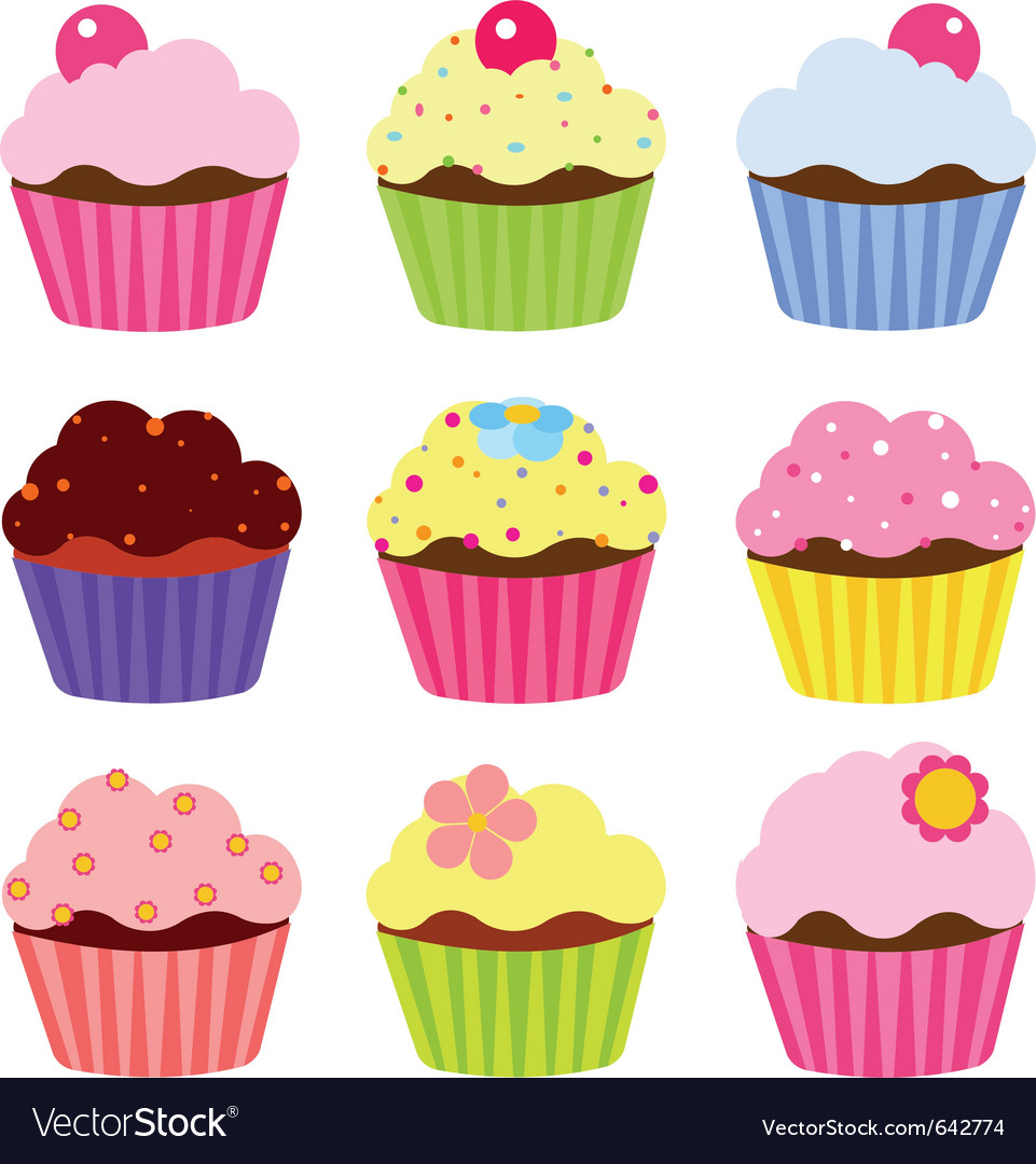 cupcakes royalty free vector image vectorstock rh vectorstock com cupcake factory sims 4 cupcake factory game