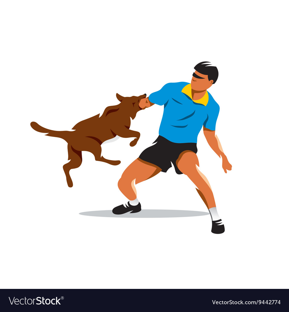 Dog training Biting dog and Man Cartoon