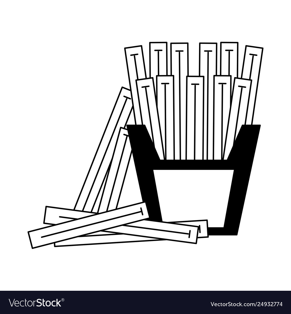 French fries in box in black and white