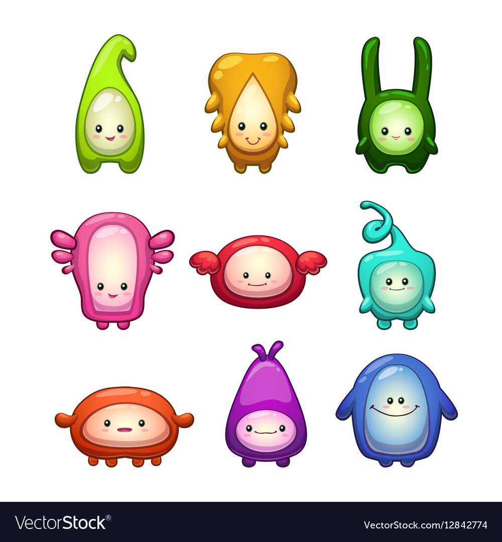 Funny colorful cartoon aliens set