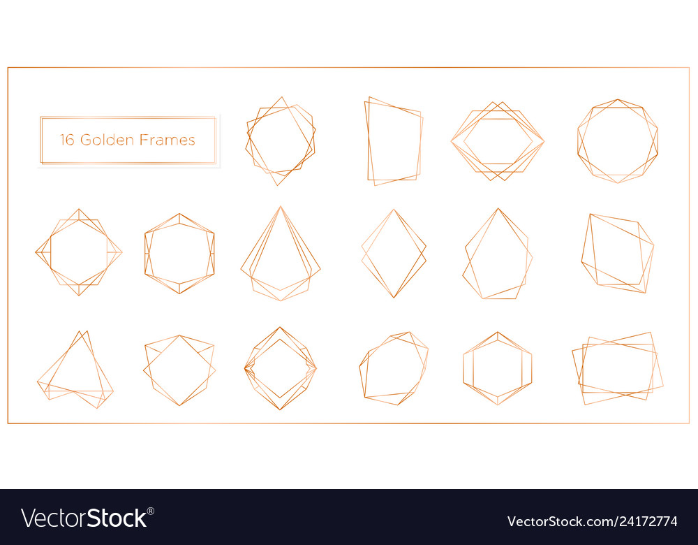 Gold segments frames set on