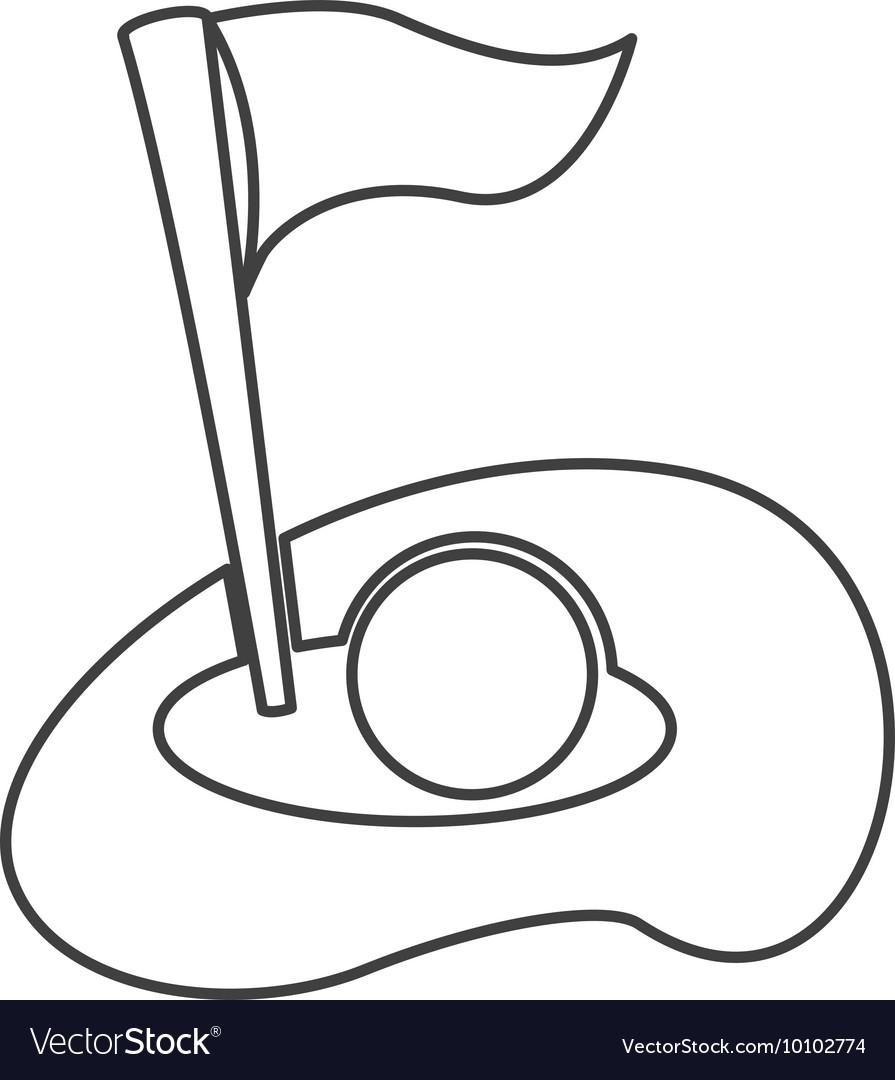 Golf hole flag icon vector image