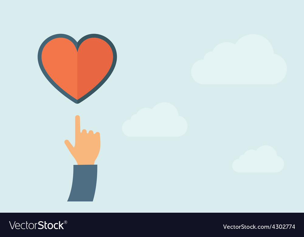 Hand pointing to heart icon vector image