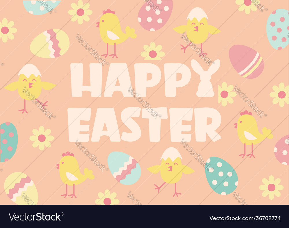 Happy easter background with text and traditional
