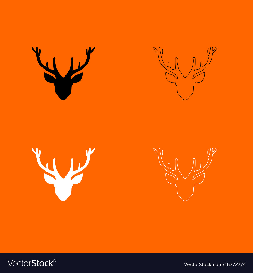 Head deer black and white set icon