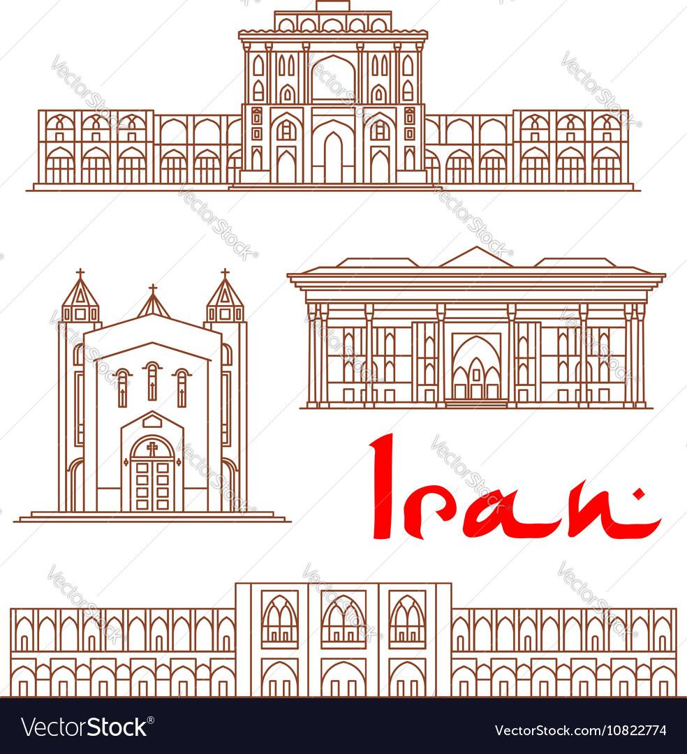 Iran architecture landmarks sightseeing vector image