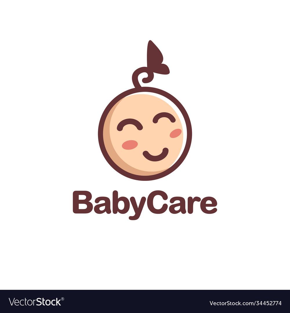 Minimalist happy child kid logo