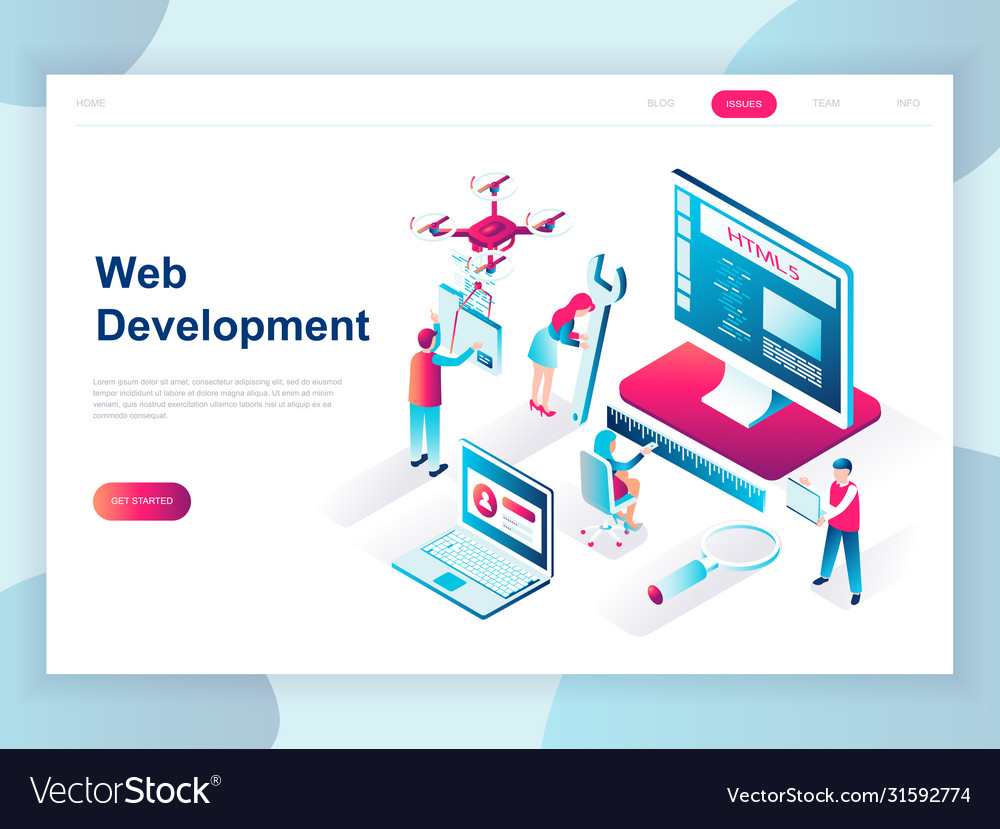 Modern Flat Design Isometric Web Development Vector Image