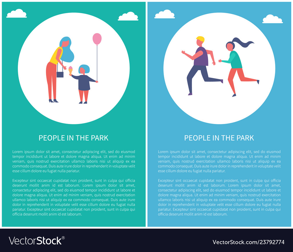 People in park poster mother daughter couple run