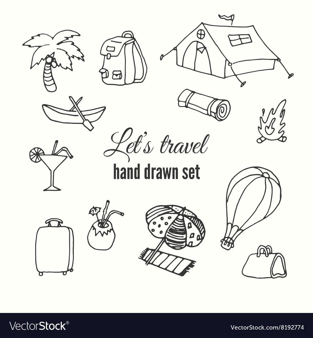 Travel elements set design of traveler